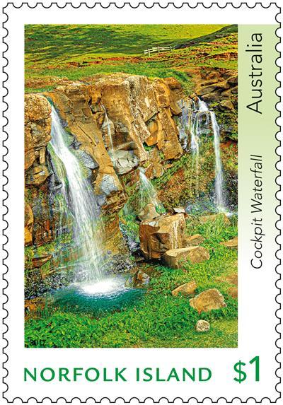 $1 Norfolk Island Cockpit Waterfall, Stamp