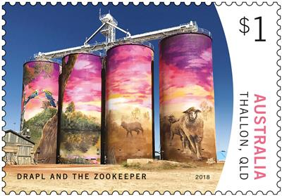 Drapl and The Zookeeper, Thallon (Queensland) - $1 stamp