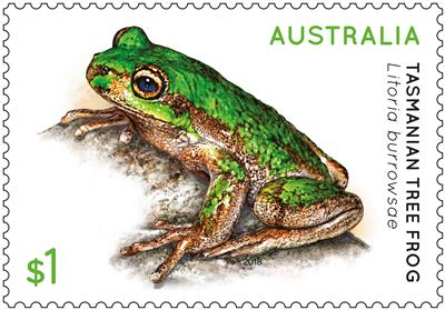 Tasmanian Tree Frog $1 stamp